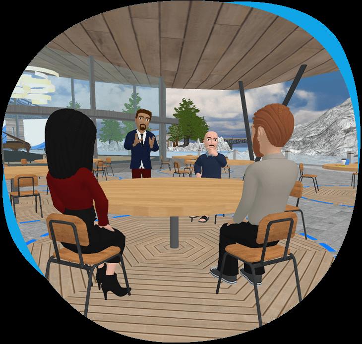 GoMeet avatars having a conversation at the digital campus