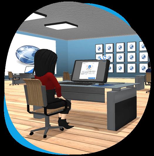 GoMeet avatar sitting in digital classroom