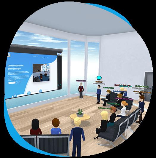 GoMeet avatars in a digital presentation room